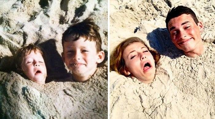 Братья и сестры повторяют фотографии из детства и это выглядит прекрасно - 17 лучших фотографий